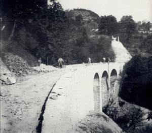 Construction of the viaduct over the Fontanin valley between Menaggio and Grandola c1884